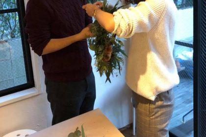 夫婦 クリスマス リース ワークショップ レッスン
