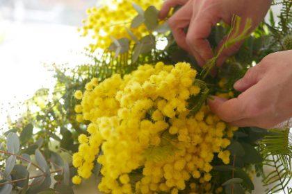 春 インテリア 雑貨 ミモザ フラワーアレンジメント 花材 ドライフラワー 誕生日 お祝い 贈る