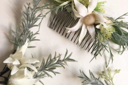 ヘアアクセサリー オーダー フランネルフラワー 花嫁 結婚式 ドレス ヘアスタイル 髪飾り